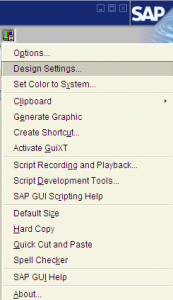 Design settings for SAP GUI