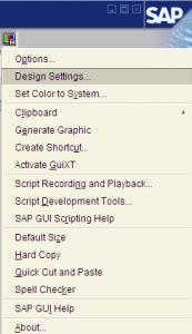 Design settings for SAP GUI