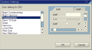 SAP system colour schemes