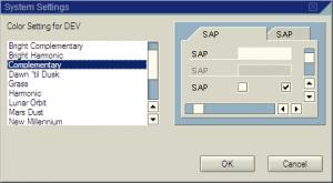 SAP system colour schemes