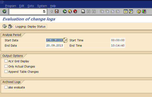 Change log analysis program selection screen