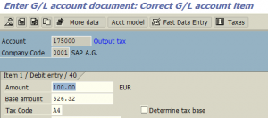 Tax account posting in classic transaction