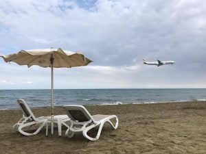 Plane and the beach