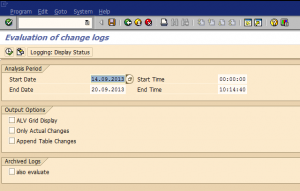 Change log analysis program selection screen