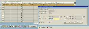 Tax account posting in Enjoy transaction